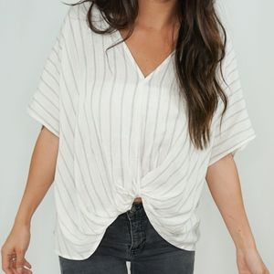 Tops - 🆕 Pinstripe Wrap Top